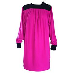 Vintage Emanuel Ungaro Shocking Hot Pink & Black Virgin Wool Sack Trapeze Dress