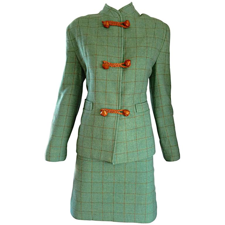Vintage Isaac Mizrahi Green and Brown Wool + Leather Asian Inspired Skirt Suit For Sale