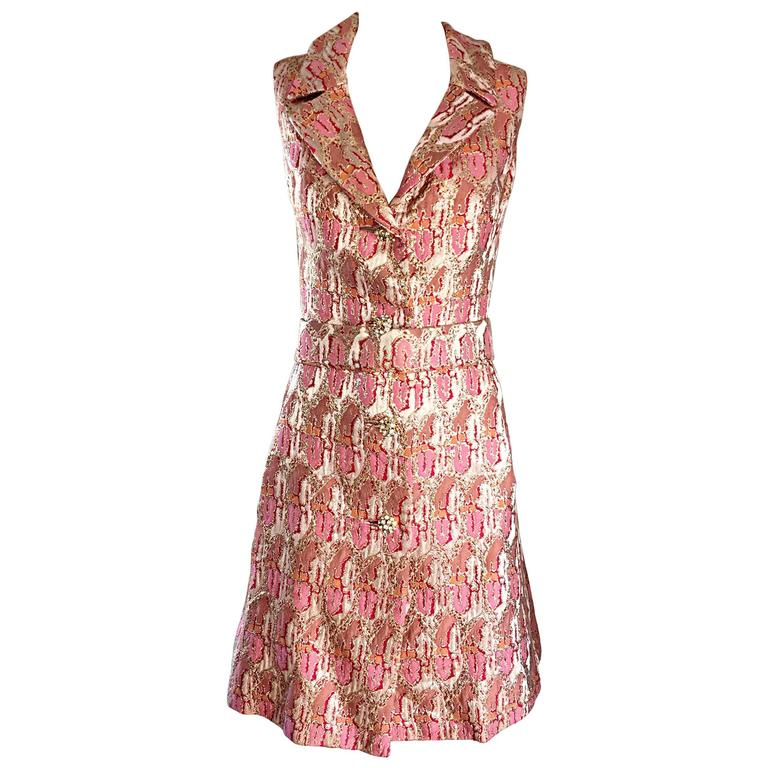 Lillie Rubin 1960s Silk Brocade Pink Gold Silver Rhinestone Belted Vintage Dress