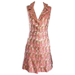 Lillie Rubin 1960s Silk Brocade Pink Gold Silver Rhinestone Belted Vintage Dress