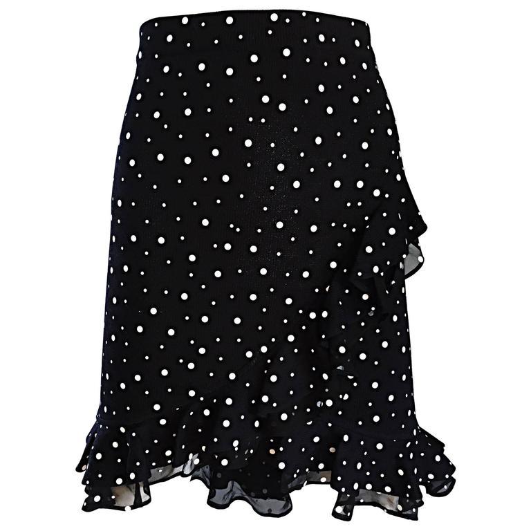 Vintage St John Marie Gray Black and White Sequin Polka Dot Ruffle 1990s Skirt 1