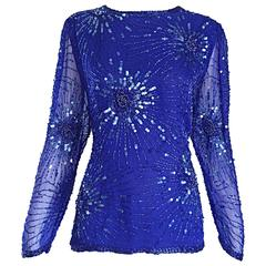 Beautiful Vintage Oleg Cassini Royal Blue Silk Chiffon Sequin Beaded Blouse Top