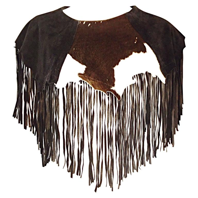 Amazing Vintage Ricky Nell Leather + Suede + Cow Hide Fringed Boho Bib Collar  1