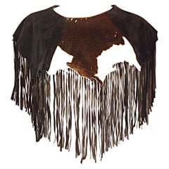 Amazing Vintage Ricky Nell Cow Hide Leather + Suede Fringed Boho Bib Collar