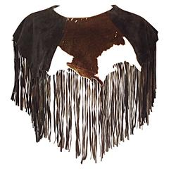 Amazing Vintage Ricky Nell Leather + Suede + Cow Hide Fringed Boho Bib Collar