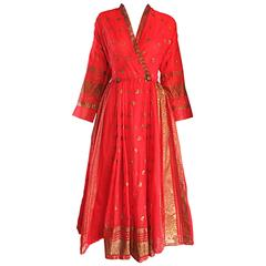 Vintage Maxan 1950 Red and Gold Hand Painted Silk Kimono Style 50s Wrap Dress