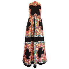 1970s Boho Vintage Handkerchief Triangular 70s Black Colorful Hippie Maxi Dress