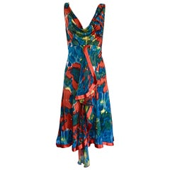 Yigal Azrouel Boho Silk Jersey Watercolor Asymmetrical Dress w/ Peek-a-Book Back
