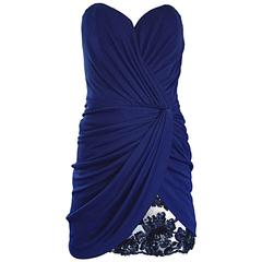 Vicky Tiel Couture Vintage Navy Blue Strapless Jersey + Lace + Sequin Sexy Dress