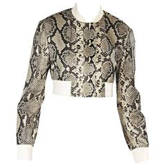 Brown & Ivory Reed Krakoff Python Cropped Jacket