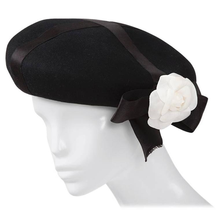 626f0522585 Chanel Wool-Felt Camellia Beret Hat at 1stdibs