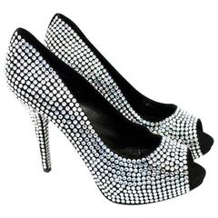 Dolce & Gabbana Crystal Embellished Peep Toe Pumps