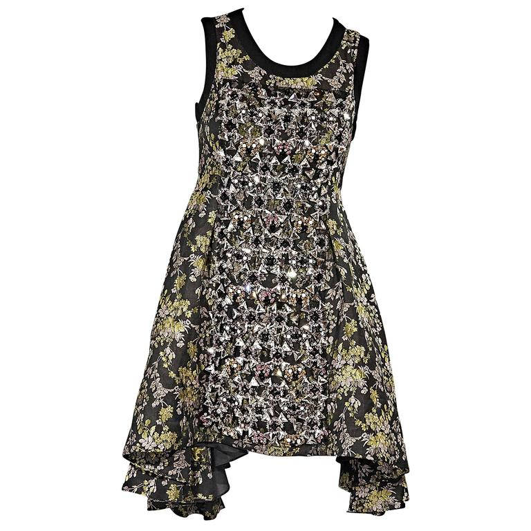 Vera Wang Embellished Floral Dress For Sale