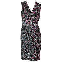 Multicolor J. Mendel Embellished Sheath Dress