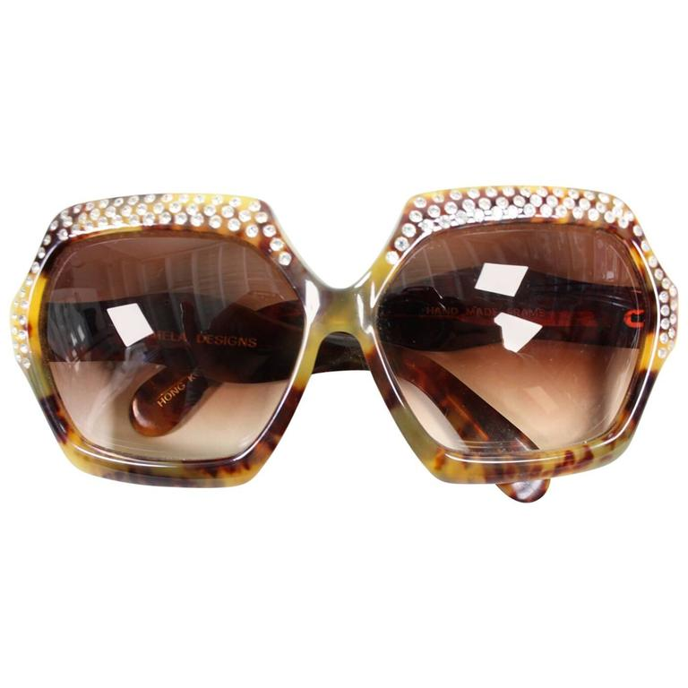 Oversized Faux Tortoise Shell Sunglasses with Rhinestones