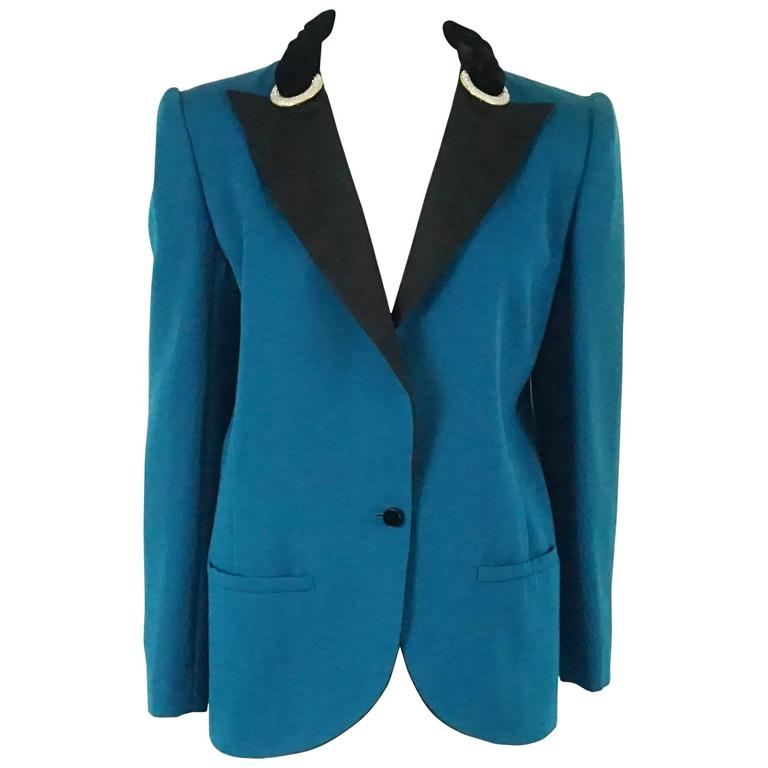 Valentino Turquoise lightweight wool tuxedo style jacket-8-Circa 80's For Sale