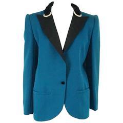 Valentino Turquoise lightweight wool tuxedo style jacket-8-Circa 80's