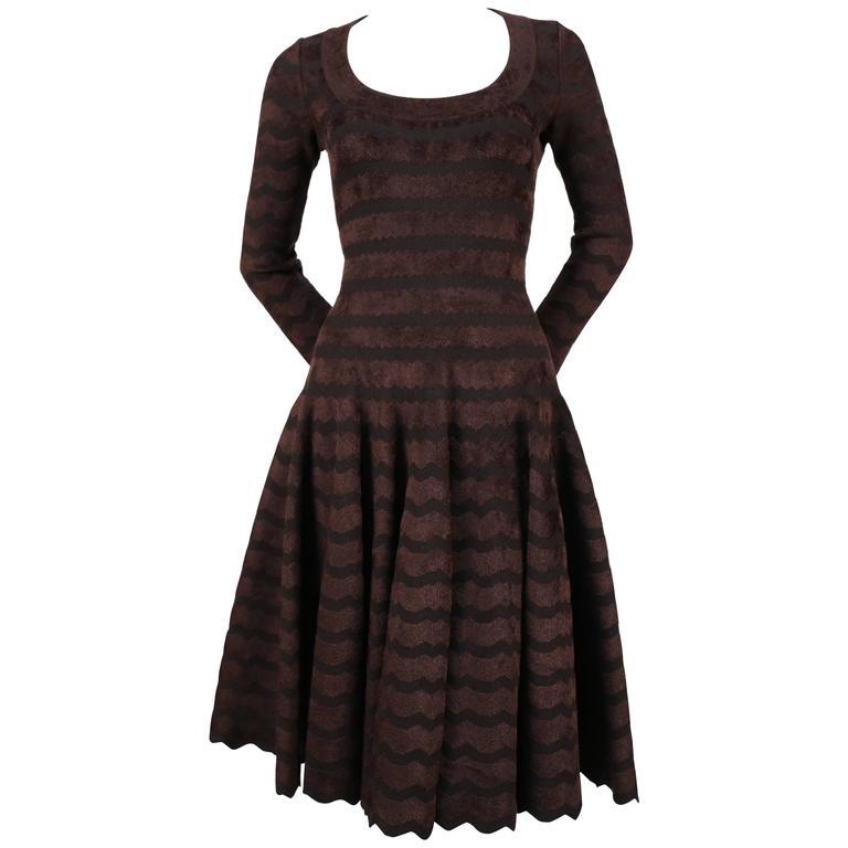unworn AZZEDINE ALAIA zig zag chenille knit dress