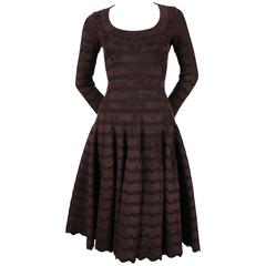 unworn AZZEDINE ALAIA zig zag chenille knit dress