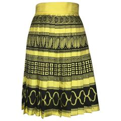 Gianni Versace Couture Vintage 1990s Yellow Black Pleated Greek Key Silk Skirt