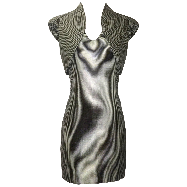 Alexander McQueen Black White Houndstooth Sculptural Shoulder Bolero Dress