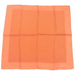 MINT. Vintage HERMES mini carre twill orange and logo print silk scarf. Classic
