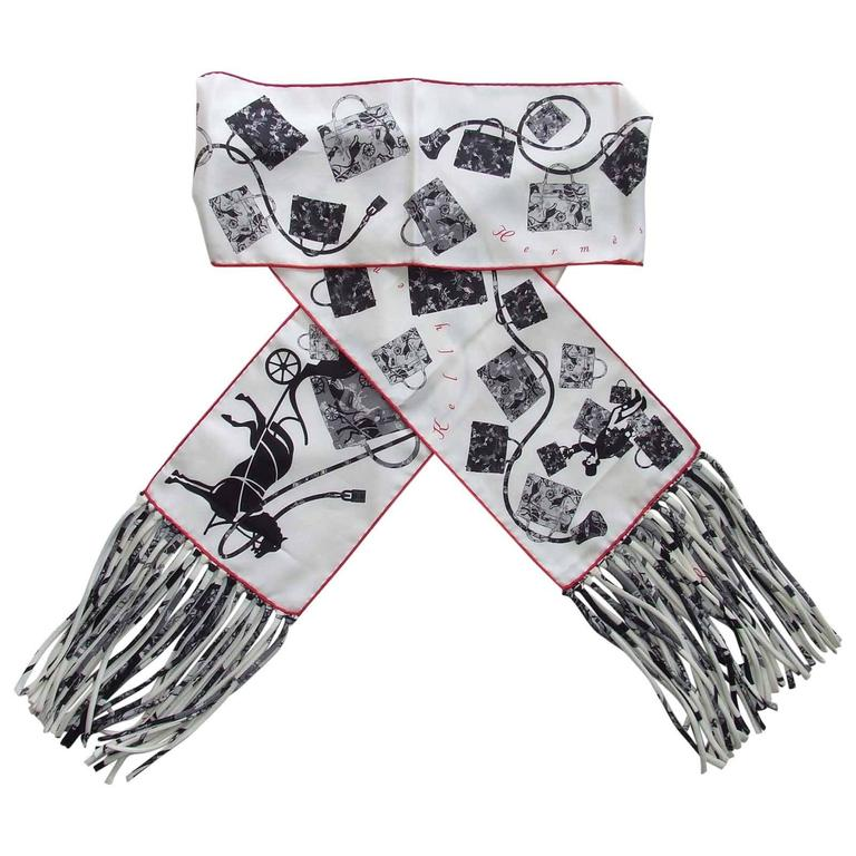 Hermes Silk Scarf Fringed Stole Kelly En Caleche White Black Grey