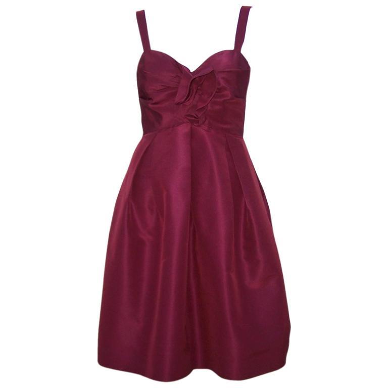 C.2000 Oscar de la Renta Aubergine Silk Taffeta Princess Dress