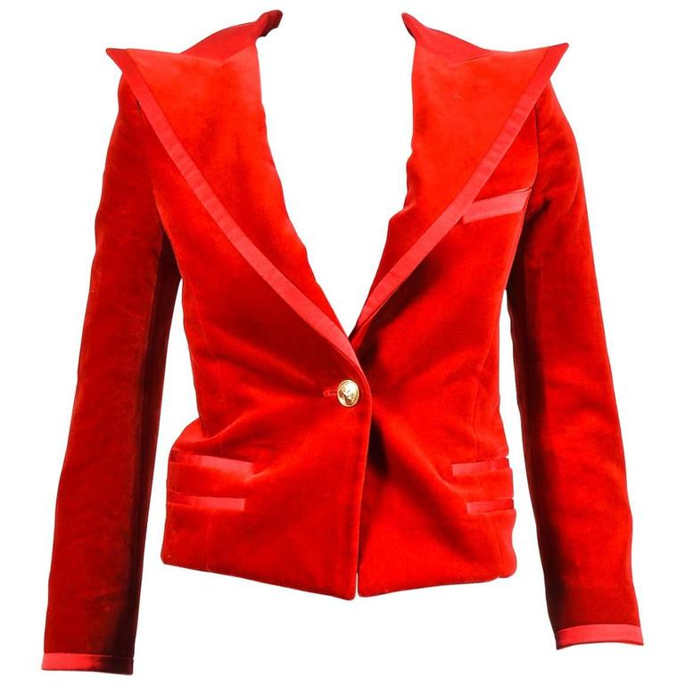 Balmain Red Velvet Satin Trim Gold Tone Metal Single Button Fitted Blazer Jacket 1
