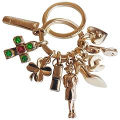 Vintage ✿*゚Chanel *ICONIC* Gripoix Glass Necklace Pendant Keychain