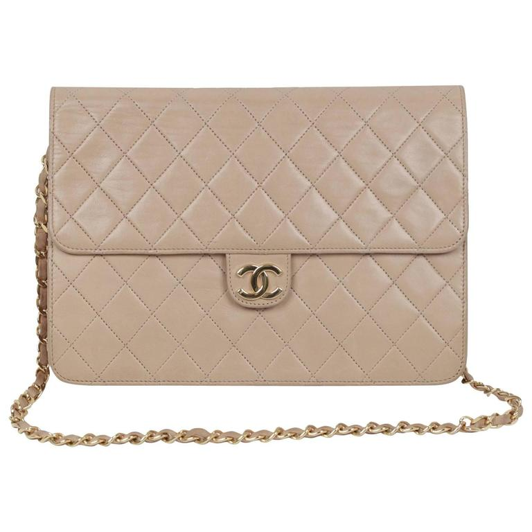 33dc9f814724 CHANEL Vintage Beige Leather QUILTED Classic 2 WAY FLAP Shoulder Bag For  Sale