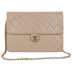 CHANEL Vintage Beige Leather QUILTED Classic 2 WAY FLAP Shoulder Bag