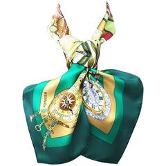 Hermes Silk Scarf La Ronde Des Heures Dubigeon Green 90 cm