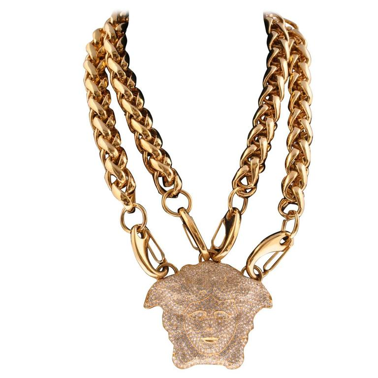 VERSACE GOLD DOUBLE CHAIN NECKLACE w/ CRYSTAL EMBELLISHED MEDUSA  1
