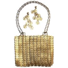 Iconic 1960's Paco Rabanne Space Age Gold Chain Mail Handbag & Earrings