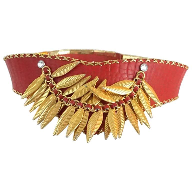 Jose Cotel Red Croc Embossed Belt with Gold Chain and Leaves - 1980's