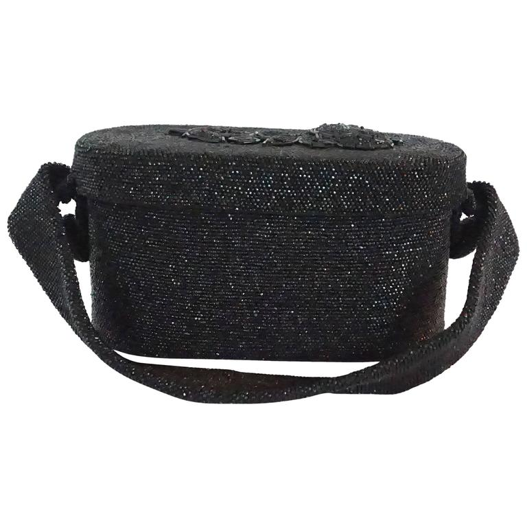Vintage Black Beaded Shoulder Bag with Floral Detail - circa 1950's  For Sale