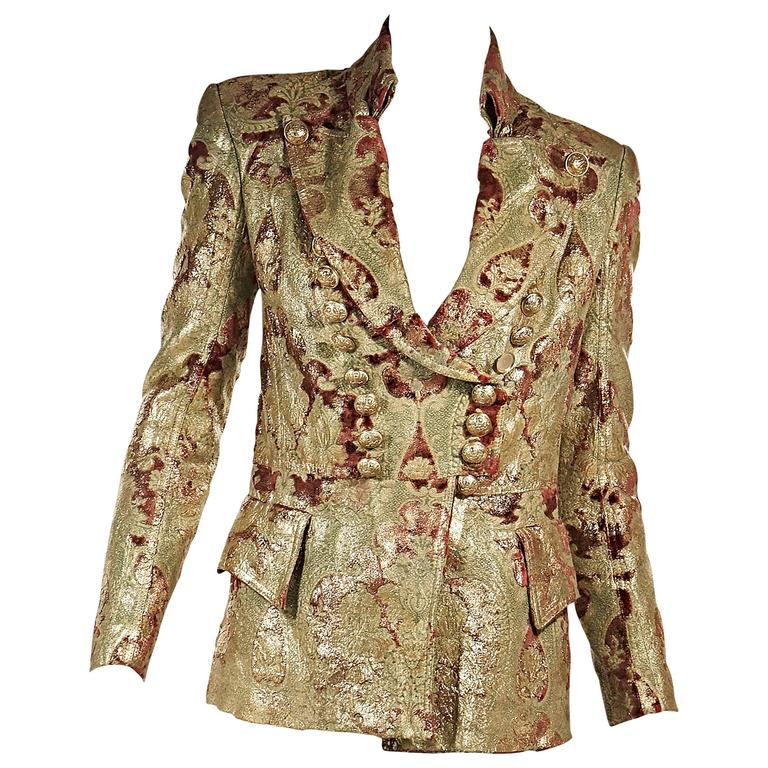 Gold and Red Balmain Metallic Brocade Jacket at 1stdibs