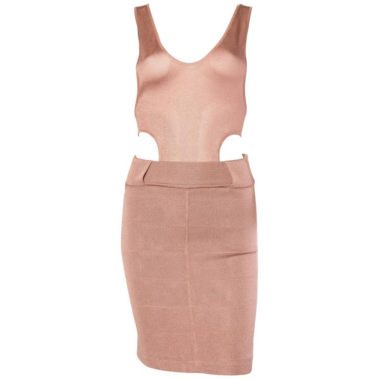 Nude Alaia Slinky Jersey Bodycon Dress with Cut Out Racer Back