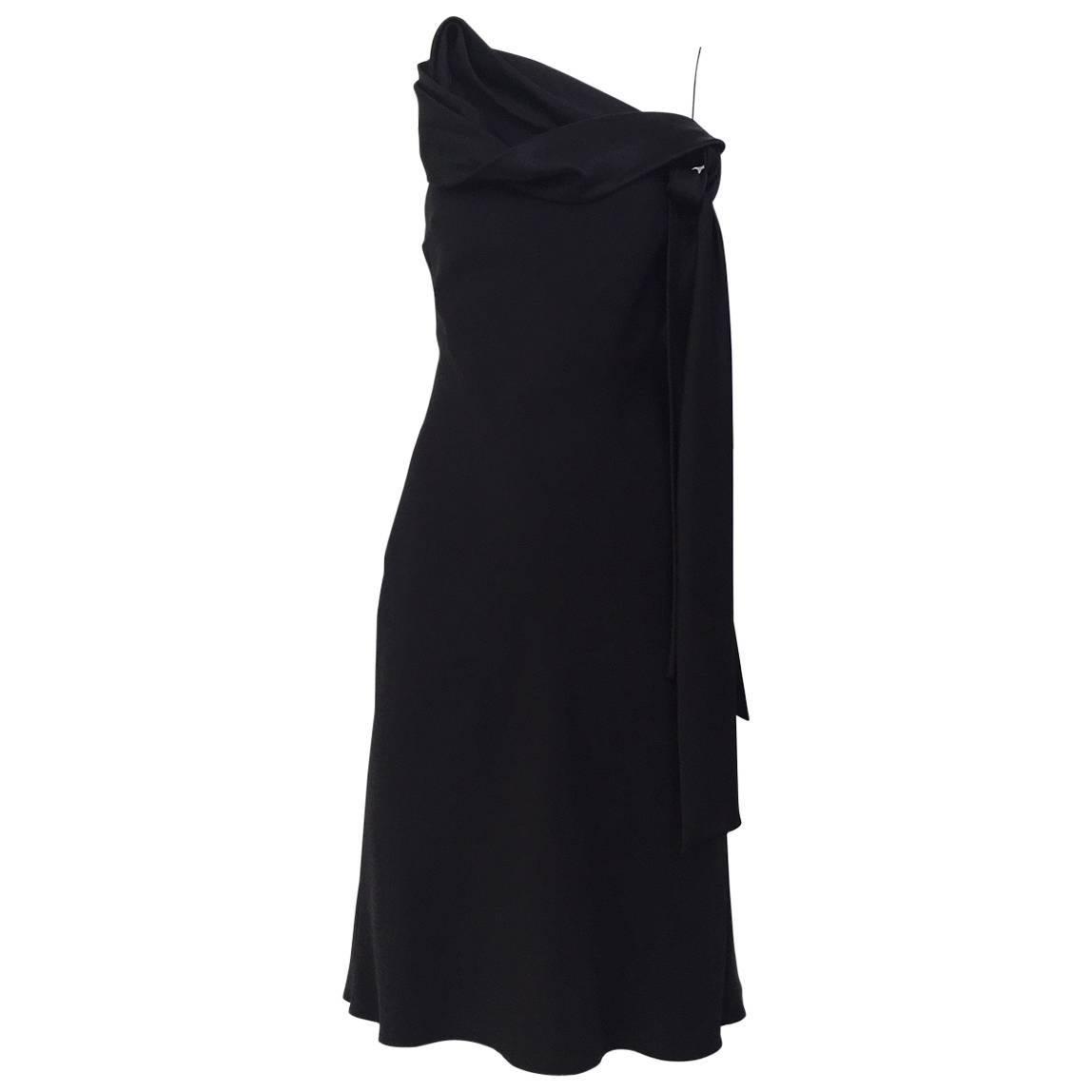 90s John Galliano black knot satin slip dress