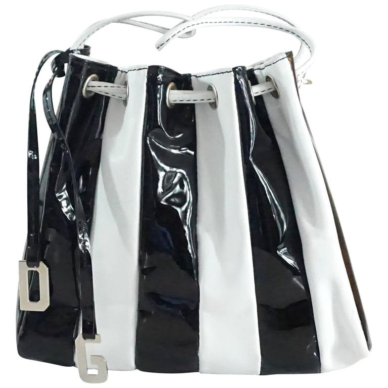 Dolce & Gabbana Black Patent & White Leather Drawstring Bag