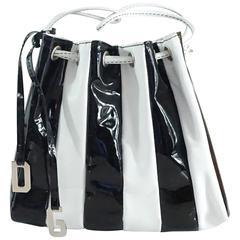 Dolce & Gabbana Black Patent & White Leather Drawstring Bag