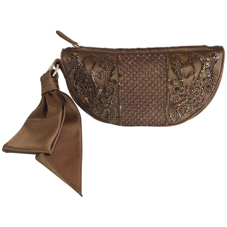 Sergio Rossi Brown Satin Beaded Clutch with Ribbon Detail  1