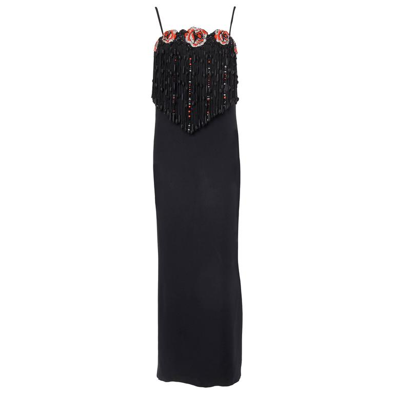 Valentino Crystal Beaded Fringed Gown For Sale