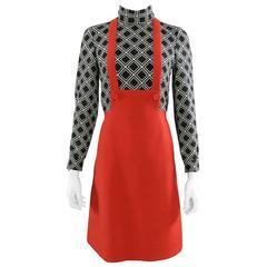 Vintage 1960's Antonio Castillo Graphic Mod Red and Black Dress