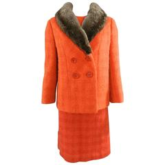Norman Hartnell Vintage Orange Wool Dress and Jacket Suit, early 1960s