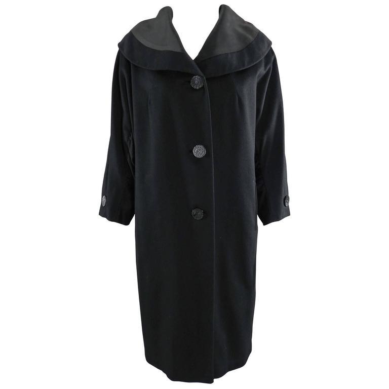 Vintage 1950's Norman Hartnell Black Wool Coat 1
