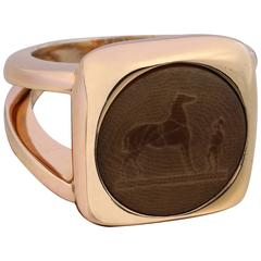 HERMES Bijouterie Fantaisie Horse Corozo Intaglio Gold Brown Ring Size 53 / 6.25