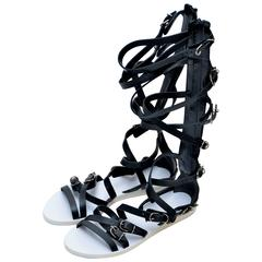 Balenciaga Black Leather Gladiator  Sandals 40   NEW