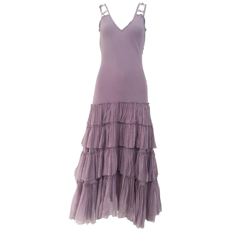 90s John Galliano lavender silk dress For Sale